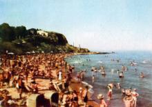 Пляж «Золотий берег». Фото з фотогармошки «Одеса курортна», 1958 р.