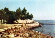 Пляж Аркадійського курорту. Фото з фотогармошки «Одеса курортна», 1958 р.
