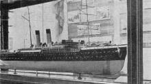 Модель парохода «Петербург II» в зале № 3. Фото в путеводителе «Музей морского флота СССР», 1970 г.