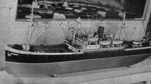 Модель первой китобойной базы «Алеут» в зале № 5. Фото в путеводителе «Музей морского флота СССР», 1970 г.
