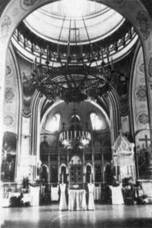 Внутренний вид храма Семинарии в здании на ул. Чижикова. 1957 г.
