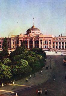 Одесса. Здание вокзала. Цветное фото Н. Козловского. Почтовая карточка. 1954 г.