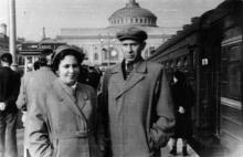Одесса. На перроне железнодорожного вокзала. 1956 г.