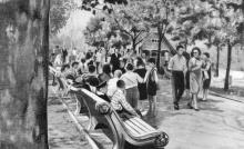 На Приморском бульваре. Фото в буклете «Одесса. Приморский бульвар», 1965 г.
