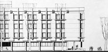 Проект фасада достроенной части здания школы № 117 по ул. Ленина, 18. Архитектор Н.И. Рябой