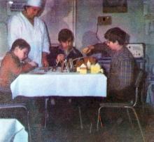 Дети с удовольствием занимаются конструкторами, кубиками. Фото И.С. Карпа в проспекте «Республиканский детский клинический санаторий им. Октябрьской революции», 1983 г.