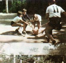 Детям нравятся игры с мячом. Фото И.С. Карпа в проспекте «Республиканский детский клинический санаторий им. Октябрьской революции», 1983 г.