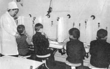 В ингалятории. Фото И.С. Карпа в проспекте «Республиканский детский клинический санаторий им. Октябрьской революции», 1983 г.