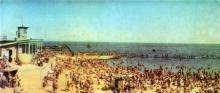 Комсомольский пляж. Фото Т. Бакмана, А. Наталиной из комплекта открыток «Город-герой Одесса», 1968 г.