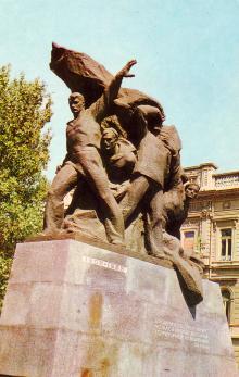 Пам,ятник потьомкінцям. Фото А. Підберезького. З комплекту листівок «Одеса» 1973 р.