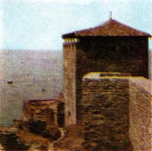 Башня крепости. Фото Р.И. Якименко в буклете «Приглашаем в Белгород-Днестровский», 1974 г.