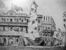 Эскиз оформления Екатерининской площади на 1-е мая 1919