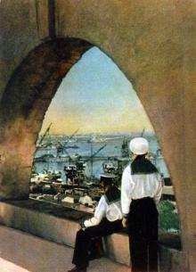 Одесса. Вид на порт из старой крепости. Фото А. Кричевского на открытке из комплекта «Одесса», 1959 г.