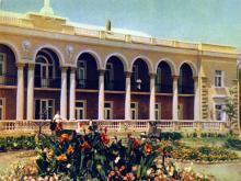 Одесса. Санаторий «Ударник». Фото А. Кричевского на открытке из комплекта «Одесса», 1959 г.