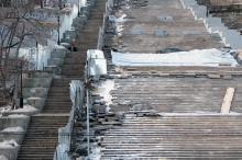 Ремонт Потемкинской лестницы. Фото О. Владимирского. 18 января 2017 г.
