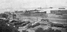 Вид одесской гавани после пожара. Фото в журнале «Искры», № 27, 1905 г.