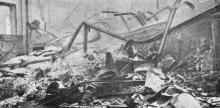 Один из сгоревших одесских пакгаузов. Фото в журнале «Искры», № 27, 1905 г.