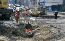 Одесса. Начало спуска Маринеско. Реконструкция трамвайных путей. Фото В. Тенякова. 30 марта 2017 г.