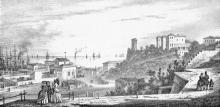 Вид Одессы возле Практической гавани. Гравюра Франца Гросса