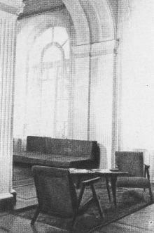 Интерьер гостиницы. Фото в брошюре «Гостиница «Одесса», конец 1960-х гг.