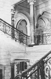 Лестница в гостинице. Фото в брошюре «Гостиница «Одесса», конец 1960-х гг.