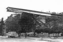 Строительство моста через улицу Жанны Лябурб. 1968 г.