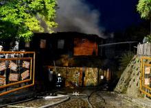 Пожар в ресторане «Хуторок». Фото пресс-службы ГУ ГСЧС Украины в Одесской области. 24 июля 2017 г.