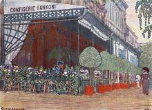 Кафе Фанкони на ул. Екатерининской. Рисунок на открытке. 1910 г.
