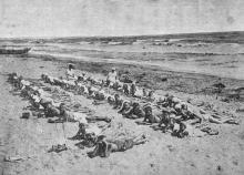 Лузановка. Пляж. Морской прибой. Фото в брошюре «Одесса. Приморские курорты». 1933 г.