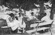 Клинический кардиологический санаторий. Отдых. Фото в брошюре «Одесса. Приморские курорты». 1933 г.
