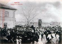 Полицейская, угол Преображенской. Похороны пожарных, погибших при тушении Пассажа. Ноябрь, 1901 г.