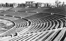 Реконструкция стадиона, трибуны после восстановления, 1946-1950 годы