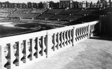 Реконструкция стадиона, вид на стадион с центральной трибуны, 1946-1950 годы