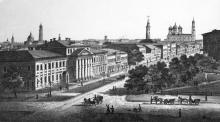 Улица Преображенская (угол Дерибасовской), гравюра, слева дом купца Михаила Крамарева (на месте будущего Пассажа), 1860-е годы