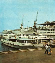 Пассажирская пристань. Фото в брошюре «Все флаги — в гости». 1975 г.