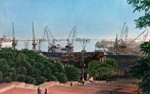 Одесский порт. Вид с Потемкинской лестницы. Фото в книге-фотогармошке «Одесса». 1960-е гг.