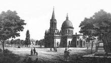 Кладбищенская церковь Всех Святых, литография, вторая половина XIX века