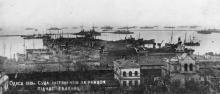 Поштова картка Одеського музею Революції кінця 1920-х рр. «Одеса. Суда інтервентів за рейдом під час евакуації. 1919 р.»