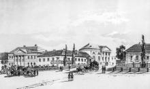 Начало Ришельевской улицы с театральной площади. Слева дворец графа Ланжерона, посредине дом барона Рено, справа дом герцога Ришелье. 1820-е гг.