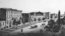 В начале Ришельевской улицы. Литография Василия Вахренова. Конец 1860-х гг.
