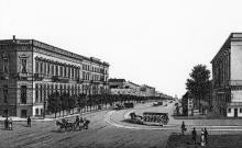 В начале Ришельевской улицы. Литография Юлия Берндта. Начало 1870-х гг.