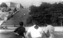 Потемкинская лестница, начало строительства эскалатора, фотограф М.Д. Яковлев, 1969 г.