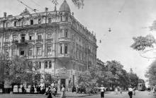 Одесса, перекресток улиц Садовой и Короля Михая. Дом Либмана. 1942 г.