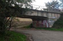Вид на мост и начало Рыбачьей ул. с начала ул. Дача Ковалевского. Фото Е. Волокина. 10 октября 2016 г.