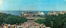 Морской вокзал. Фото Б. Минделя на панорамной открытке из комплекта «Одесса». 1978 г.