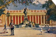 Одеса. Пам,ятник Пушкіну и Окрисполком. Поштова листівка. За підписом на звороті 1935 р.