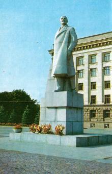 Пам,ятник В.І. Леніну. Фото А. Підберезького з комплекту листівок «Місто-герой Одеса». 1975 р.