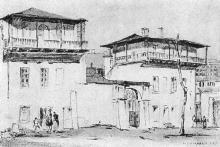 Старейшее здание города Одессы, Красный переулок. Рисунок Моисея Синявера в книге «Архитектура старой Одессы», 1935 г.