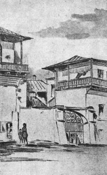Деталь старейшего здания г. Одессы. Рисунок Моисея Синявера в книге «Архитектура старой Одессы», 1935 г.