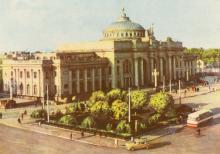 Привокзальная площадь. Цветное фото А. Штерна и А. Глазкова из набора открыток достопримечательностей Одессы, 1963 г.